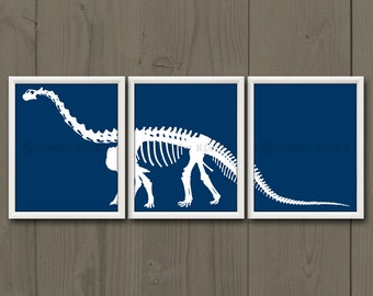 8x10 (3) DINOSAUR PRINTS - Nursery Art, Nursery Decor, Children's Art, Children's Decor, Dinosaur Prints - Dinoaur Skeleton