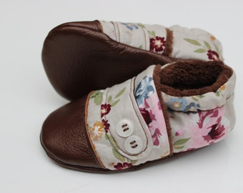 Fleece Lined Moccasin, Cloth Baby Moccasin, Soft Soled Infant Shoe, Floral Moccasin, Leather Baby Shoe, Soft Sole Baby Shoe, Brown Moccasin