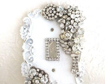 light switch cover wall decor cottage chic light switch cover white light switch plate rhinestone light switch cover single light switch