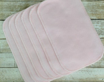 Set of 6 light pink premium cotton velour/ bamboo terry cloth wipes