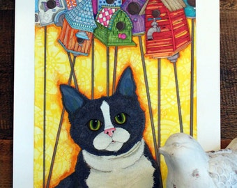 Cat blue yellow birdhouse Giclée