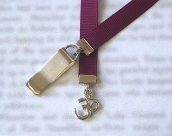 Om Aum Ohm Yoga bookmark with clip - Attach to book cover then mark the page with the ribbon. Never lose your bookmark!