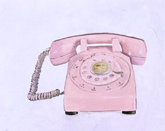 "Pink Vintage Phone Acrylic Painting by Andrea Holmes 20""x20"""