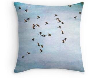 Bird Pillows, Bird Decor, Parrots, Blue Pillow, Blue Cushion, Nature Pillow, Bird Throw Pillow, Costa Rica, Blue Decor, Blue and Purple
