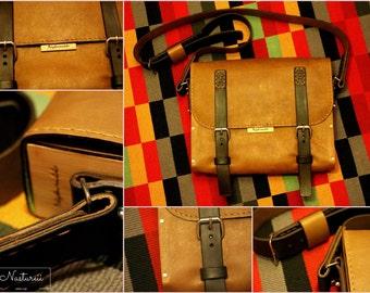 Wood and leather messenger bag
