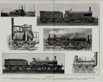 1896 Old train and sailing ships print. Old locomotive, steam train