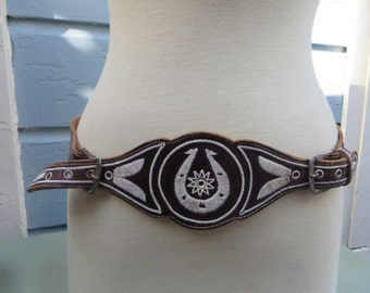 Vintage Western Belt Leather Emrboidered Mexican Horseshoe Cowboy Charro Double Buckle 1960s 1950s