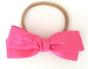 Hand Tied Bright Pink Bow
