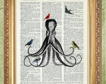 Birds and Octopus Dictionary Art Prints Animal Art Decor Nursery Wall Art