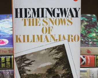 "A striking 1970s Penguin paperback edition of Ernest Hemingway's  classic ""The Snows of Kilimanjaro"""