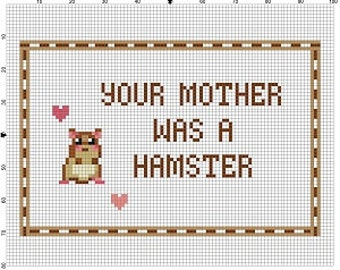 Monty Python and the Holy Grail - Your mother was a hamster - Cross Stitch Pattern - Instant Download