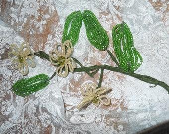 Victorian Glass Bead Flowers Circa 1900 Thru 1910