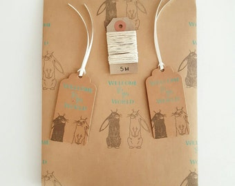 New Baby Gift Wrap Set: 1 Sheet of Bunny Kraft Wrapping Paper, 2 Gift Tags & 5m Twine.
