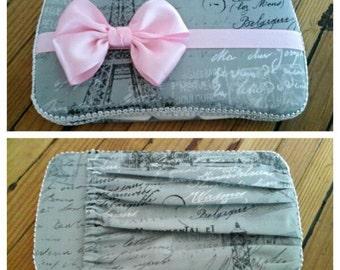 Paris Baby Travel Wipe Case - Grey Baby Wipes Case - Light Pink Wipe Case - Wipe Case with Pocket - Diaper Clutch - Baby Girl Wipe Case