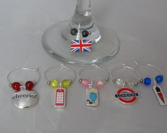 London Themed Wine Glass Charms Set of 6