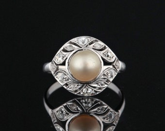 Art Deco natural pearl and diamond cluster ring