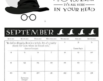 """SALE! Harry Potter Inspired 2017 Calendar      8.5x11""""     Includes 12 months of quotes and marked characters' birthdays!     Printable PDF"""