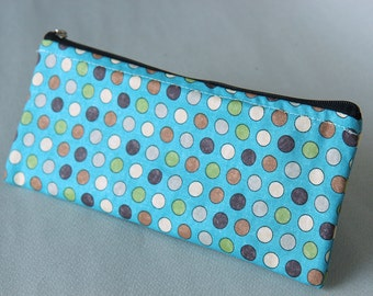 Hand printed Pencil pouch, zipper pouch, cosmetic pouch,cotton printed pouch #7