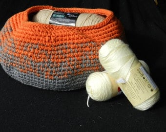 Crocheted Storage Basket of Orange and Grey Handmade