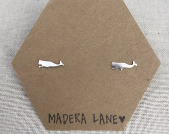 Tiny Whale Stud Earrings in Sterling Silver. Sea Stud Earring Set. Sterling Silver Posts. Animal Earring Studs. Gift Under 20. Minimalist