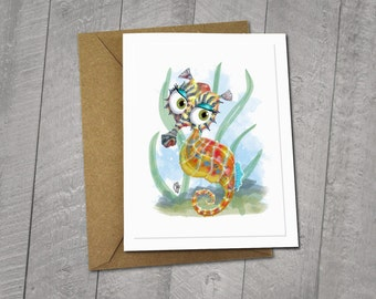 Adorable Big-Eyed Seahorse Greeting Card, Whimsical, Made In Alaska, Colorful Hawaii