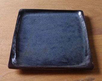 indigo stoneware square plate tray