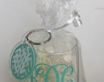Monogram Stemless Wine Glass with Chevron Monogram Keychain Gift Pack