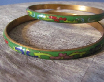 Vintage Set of Two 1960's Chinese Cloisonne Ware Bracelets