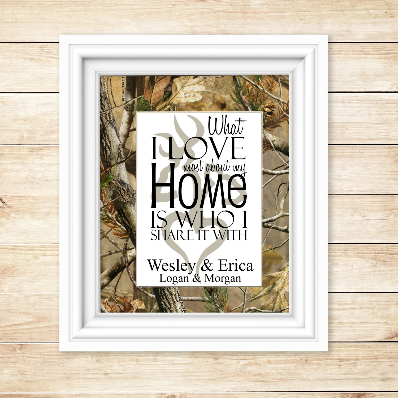 Country Housewarming Buck And Doe Family Camo Wall Decor