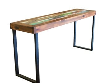 Audley Reclaimed Bali Boat Wood Console Table, Teak Console Table, Colorful  Table, Table