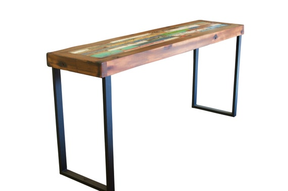 Audley reclaimed bali boat wood console table teak