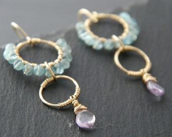 Bohemian, Goshenite, Amethyst, Chandelier Earrings, 14K Gold Fill, Wire Wrapped, Gemstone Briolette, Lilac, Lavender, Aqua, Blue, Bohemian