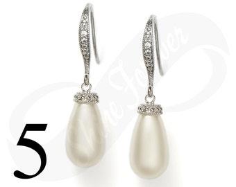 Set of 5 Teardrop Pearl Earrings Bridal Tear drop Pearl Earrings Swarovski Teardrop Pearl Earrings Wedding Teardrop Jewelry Bridesmaid Gift