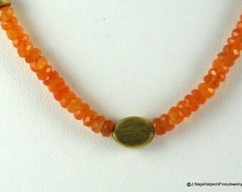 Carnelian Necklace 14K Gold Tangerine Orange Gem Semi Precious Stone  Gemstone Choker yoga jewelry