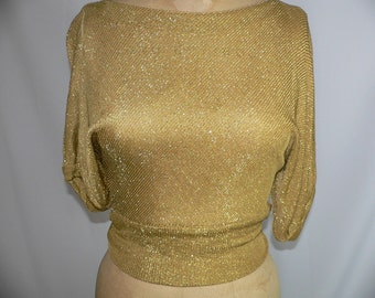 1960's Vintage Beverly Paige Gold Metallic Knit Top