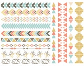 Tribal Pattern Borders in Pastel Aztec Clipart Commercial Use Graphics Digital Clip Art Digital Images Royalty Free PNG