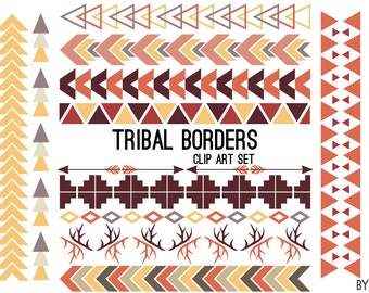 Tribal Pattern Borders Aztec in Earthtone Aztec Clipart Commercial Use Graphics Digital Clip Art Digital Images Royalty Free PNG