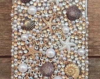 Bronze Beach Sea Shell Bling Phone Case, iPhone Samsung Ocean Cover