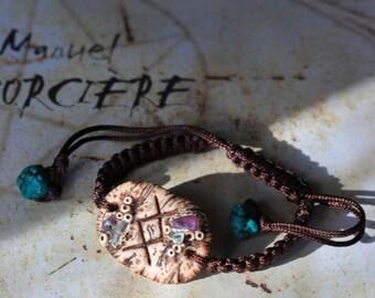 Bracelet amulet - Ingwaz Rune - Fluorite and Amethyst-