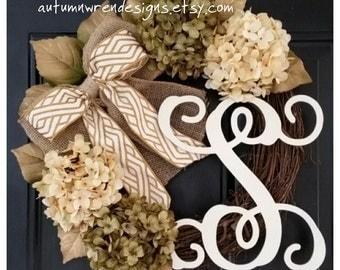 DOOR Wreath, Gold Wreath, Everyday Door Decor, Monogram Wreath, Hydrangea Wreath with Gold Bow