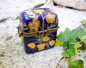 Limoges Trinket Box, Vintage Limoges Box, Perfume Trunk, Limited Edition, Hinged Limoges, Limoges France, French Cottage Chic, Peint Main