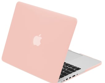 """Retina 13-Inch Rubberized Hard Case Cover for Older Generation MacBook Pro 13"""" with Retina Model A1425 / A1502  - Rose Quartz"""