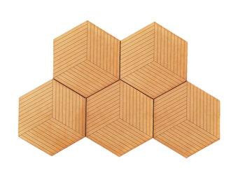 Hexagonal Coaster Set / Geometric Leather Coasters / Handcrafted in Portland, Oregon.