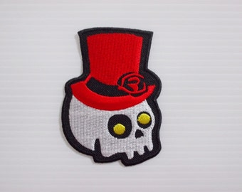 Skull Magician Red Hat New Sew / Iron On Patch Embroidered Applique Size 5.4cmx7.2cm.