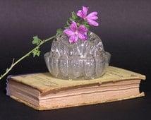 French Flower Frog - Vintage Rose Bowl - 19 Holes Glass Frog - Art Deco Desk Vase - Pencil Holder - Retro Paperweight
