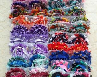 60 pcs Chiffon Frayed Flowers - Shabby Rose trim -Shabby Flower Rose Trim - Wholesale Fabric Flower Set  -Shabby Chic - Rose Trim Mix