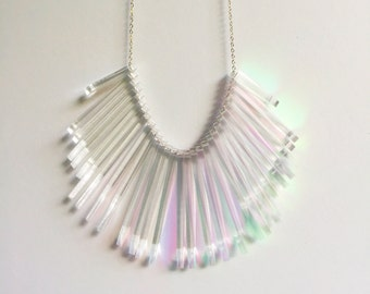 Large laser cut iridescent clear acrylic beaded necklace, acrylic necklace, laser cut necklace, statement necklace