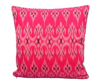 Deep Pink Ikat 16 x 16 cushion cover