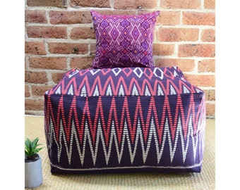 24 x 24 x 13 Square Floor Cushion Cover, Oversized Pillow Case, Ikat Ottoman Pouf