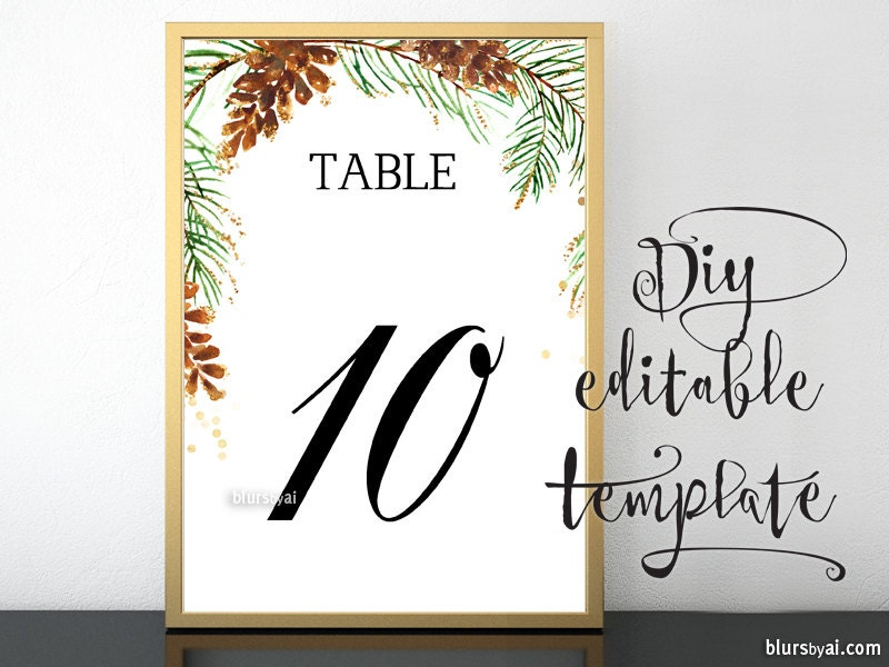 5x7 printable table numbers template for word